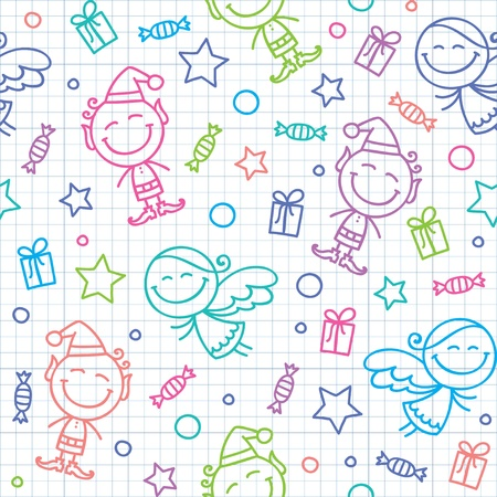 christmas hand drawn seamless pattern with angels and elfs