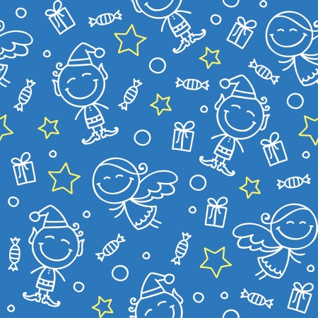 elfs: christmas hand drawn seamless pattern with angels and elfs