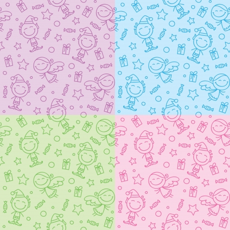 elfs: christmas hand drawn seamless patterns with angels and elfs