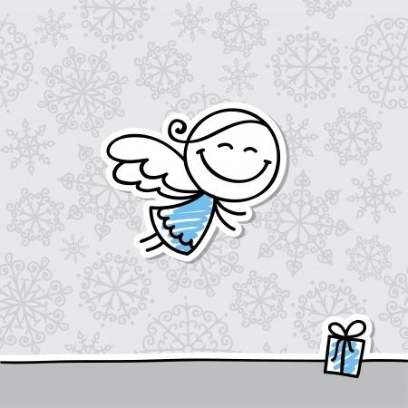 baby angel: Cartolina di Natale con l'angelo disegnato a mano e fiocchi di neve