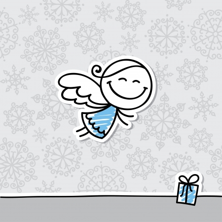 angel white: christmas card with hand drawn angel and snowflakes