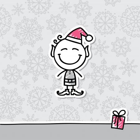cartoon elfe: Weihnachtskarte mit Hand gezeichneten elf und Schneeflocken Illustration