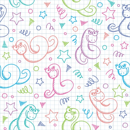 seamless pattern with funny hand drawn snakes Vector