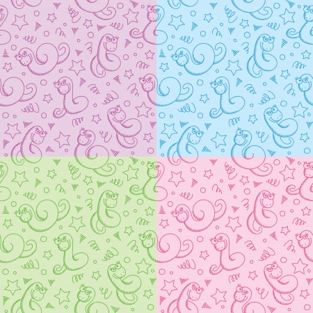 seamless patterns with funny hand drawn snakes Vector