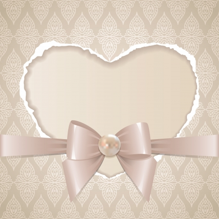 nacre: card with paper heart, glossy bow and pearl on old wallpaper