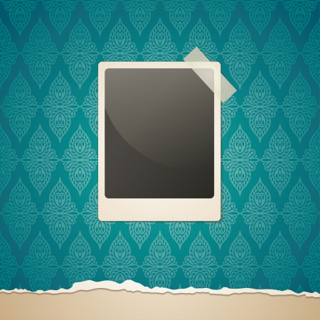 vintage illustration of  frame on old wallpaper Stock Vector - 16614619