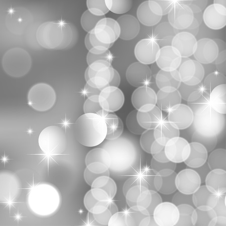 blurred lights: abstract background of silver blurred lights and stars Illustration