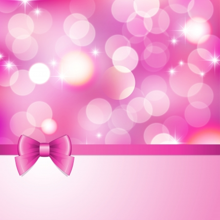 pink satin: pink background with blurred lights, stars and bow
