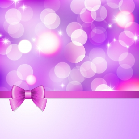 pink satin: violet background with blurred lights, stars and bow Illustration