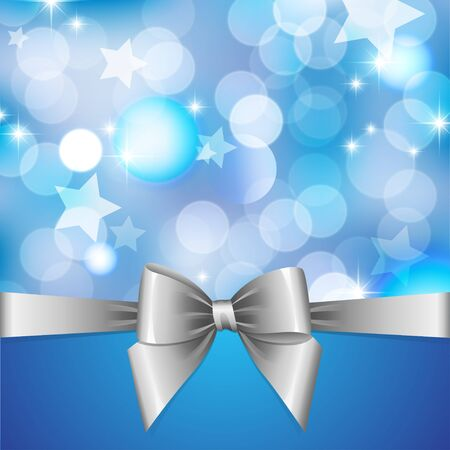blurred lights: blue background with blurred lights, stars and silver bow