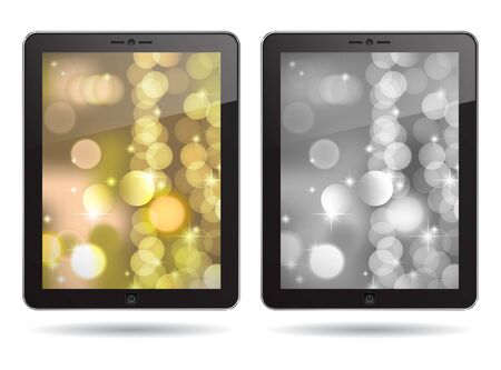 tablet PC with gold and silver abstract backgrounds Vector