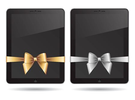 tablet PC with silver and gold bows Vector
