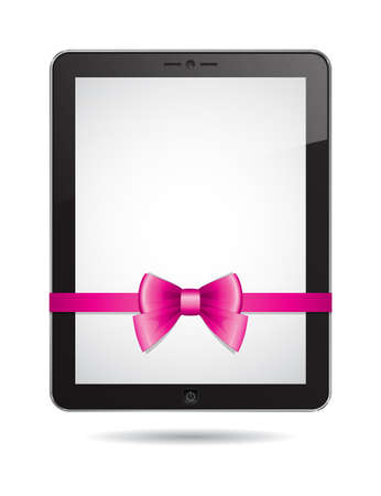tablet PC with pink bow on white background Vector