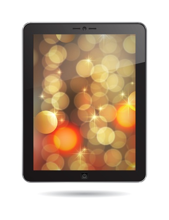 tablet PC with gold abstract background Vector