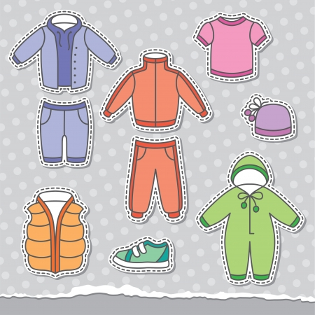 set of children s clothes, design elements Vector