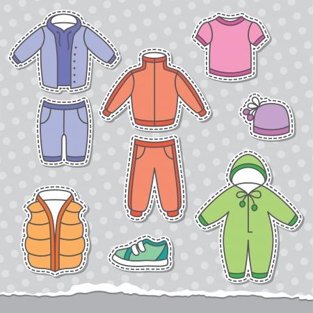 sport wear: set of children s clothes, design elements Illustration
