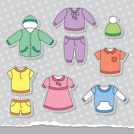 set van kinderen en kleding, design elementen Stock Illustratie