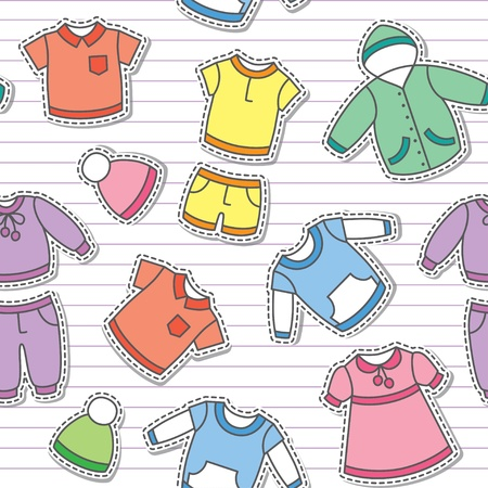 seamless pattern of children s clothes on white striped background Vector