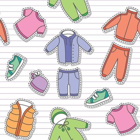 duffle: seamless pattern of children s clothes on white striped background