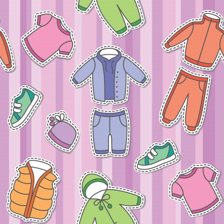 striped vest: seamless pattern of children s clothes on violet background