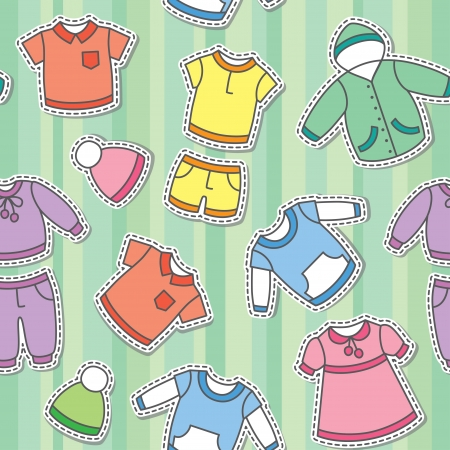 pink dress: seamless pattern of children s clothes on green background