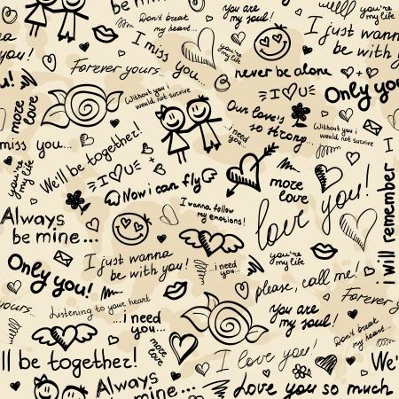 hand, getrokken naadloze patroon met inscripties over liefde