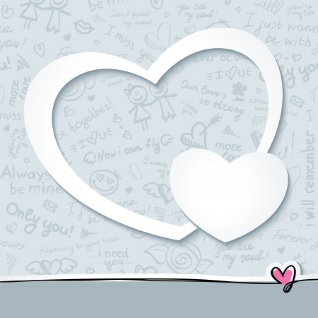 vector frame with white paper hearts and hand drawn pattern Illustration
