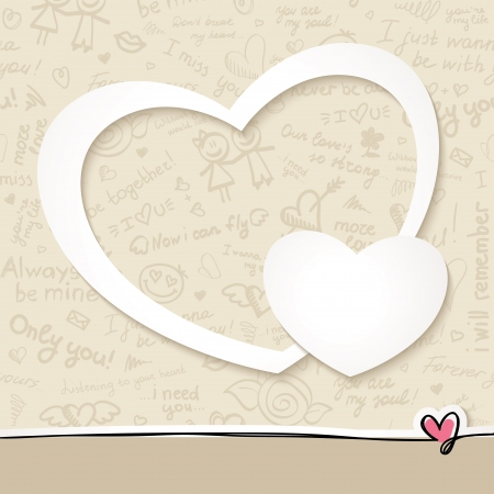 heart sketch: vector frame with white paper hearts and hand drawn pattern Illustration