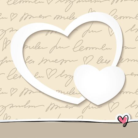 hand drawn frame: paper hearts