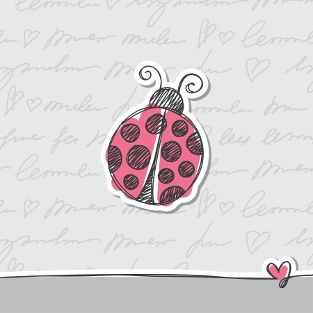 cartoon ladybug: hand drawn card