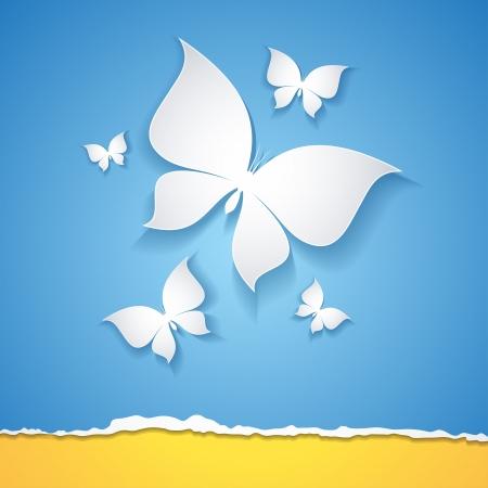 orange sky: butterflies Illustration