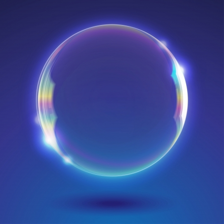 blue sphere: abstract background with realistic soap bubble