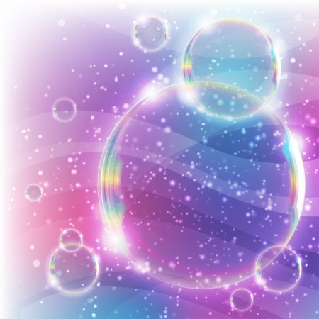 pink bubbles: abstract background with realistic soap bubbles