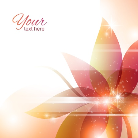 floral abstract background with lines and luminous particles Vector