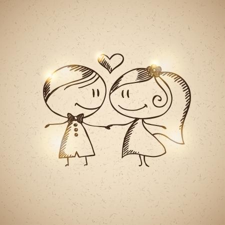 braut und bräutigam: Hand gezeichnet Hochzeitspaar