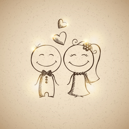 flor caricatura: dibujado a mano de la boda pareja