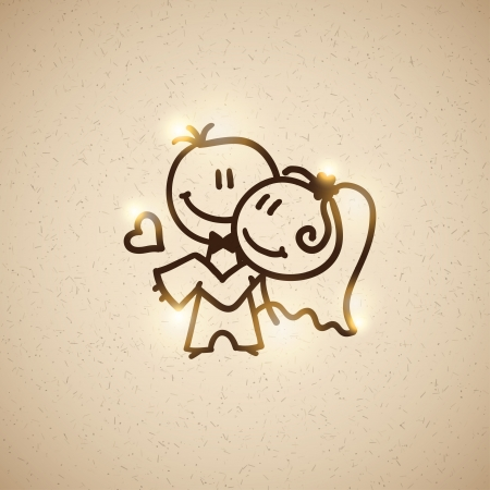 sweet couple: wedding couple, vector eps 10 Illustration