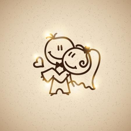 old happy couple: wedding couple, vector eps 10 Illustration