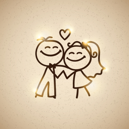 sweet couple: wedding couple, vector eps 10 Illustration