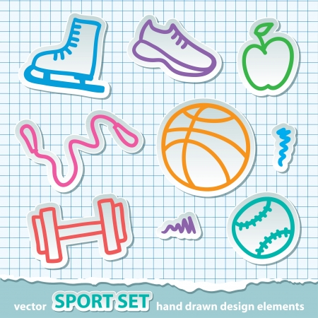 hand drawn sport stickers, vector eps 10 Vector