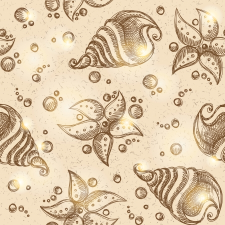 pattern of starfishes and shells, vector eps 10 Vector