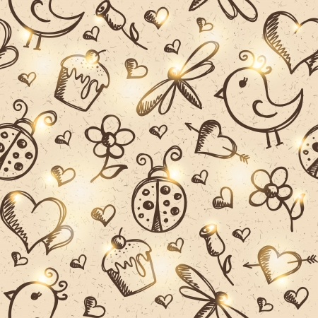romantic seamless pattern, vector eps 10 Vector
