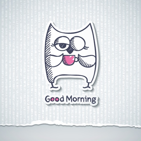 early morning: owl and cup of coffee