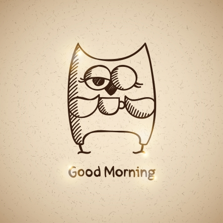 good humor: owl and cup of coffee