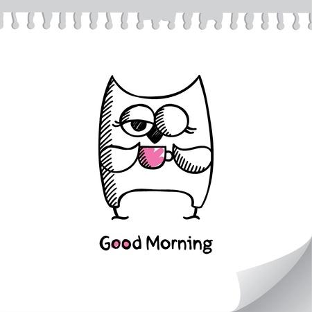 ébredés: bagoly és a csésze kávé