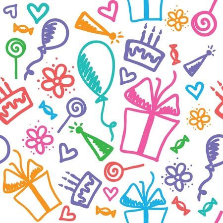 verjaardag ballonen: verjaardag patroon Stock Illustratie