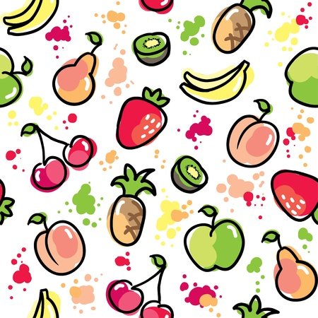 kids eating healthy: hand drawn fruits pattern