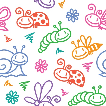 hand drawn pattern with insects Stock Vector - 18717118