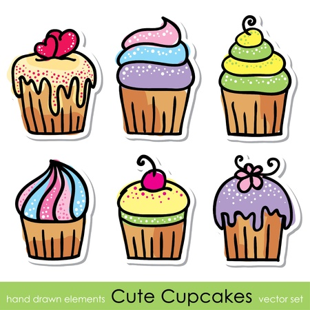 cherry pie: cupcakes set Illustration