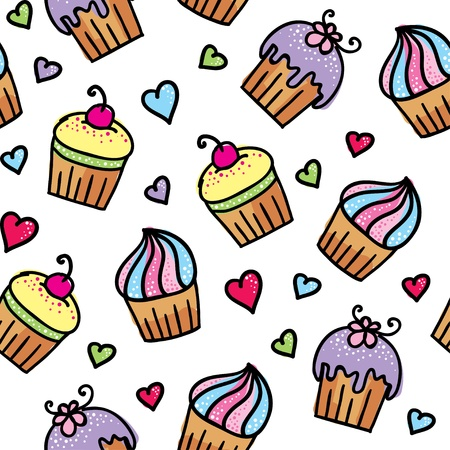 cupcake background: pattern of cupcakes Illustration